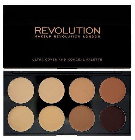 Makeup Revolution Ultra Professional Cover & Concealer Palette paleta 8 korektorów Medium-Dark 10g