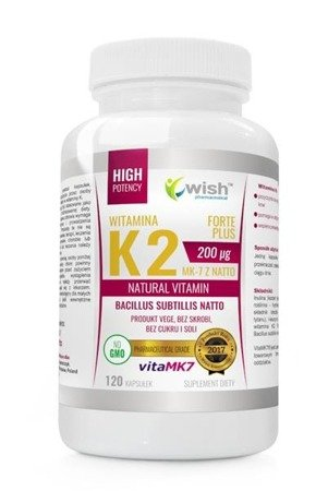 WISH Witamina K2 200µg MK-7 z Natto Natural Vitamin VitaMK7 suplement diety 120 kapsułek